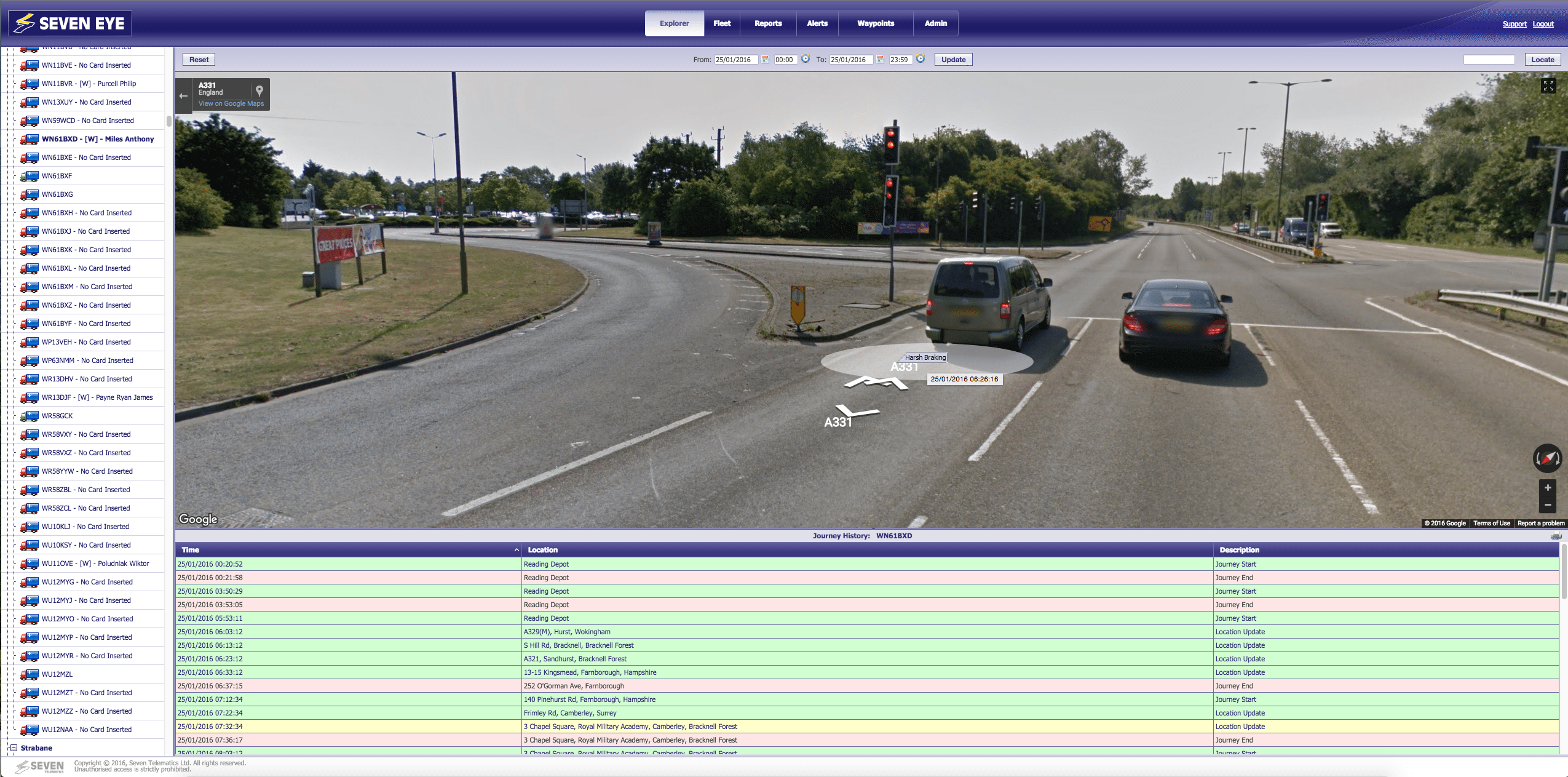 ehicle Tracking overlaid on Google Street View